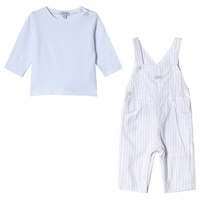 Absorba Blue Tee and Stripe Dungarees Set