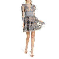 BRONX AND BANCO Megan Long Sleeve Grey Floral Lace Minidress
