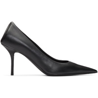 Black Leather Square Knife Pumps