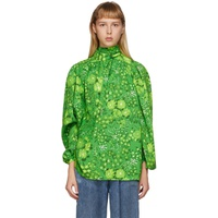 Green Silk Floral Twisted Blouse