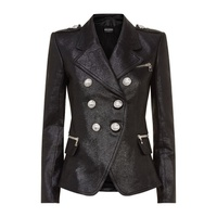 Balmain Double-Breasted Leather Blazer