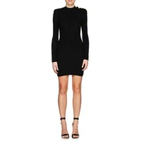 Balmain Rib-Knit Wool-Blend Fitted Dress