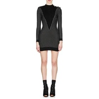 Balmain Metallic Mock-Turtleneck Dress