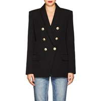 Balmain Wool Canvas Double-Breasted Blazer