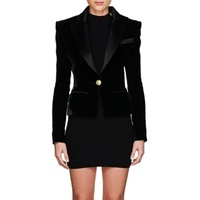 Balmain Velvet & Satin Single-Button Blazer