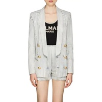 Balmain Striped Denim Double-Breasted Blazer