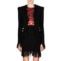 Balmain Fringed Tweed Collarless Jacket