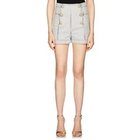 Balmain Striped Denim High-Waist Shorts