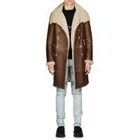 Balmain Shearling Double-Breasted Coat