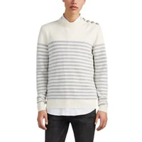 Balmain Metallic-Striped Wool-Blend Crewneck Sweater
