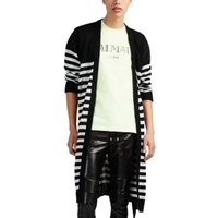 Balmain Distressed Striped Linen Long Cardigan
