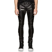 Balmain Faux-Leather Biker Jogger Pants