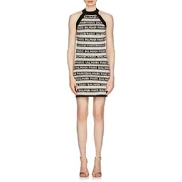 Balmain Logo-Striped Linen-Blend Sleeveless Dress