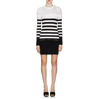 Balmain Sheer-Striped Mixed-Knit Dress