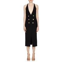 Balmain Rib-Knit Double-Breasted Sleeveless Dress