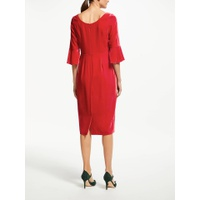 Boden Aubrey Velvet Flute Sleeve Dress, Poinsettia