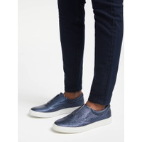 Boden Metallic Slip On Trainers, Navy Leather
