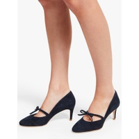 Boden Anthea Bow Detail Court Shoes, Navy Suede
