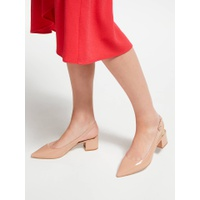 Boden Annie Pointed Slingback Court Shoes, Fawn Rose Patent Leather