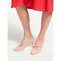 Boden Anthea Bow Detail Court Shoes, Fawn Rose Suede