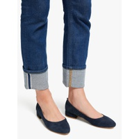 Boden Amelie Low Block Heel Court Shoes, Navy Suede