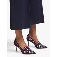 Boden Millie Suede Slipper Embroidered Shoes, Navy