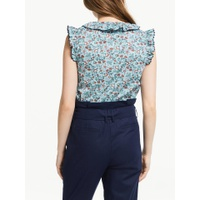 Boden Laurie Floral Tassel Cotton Top, Heron Blue
