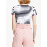 Boden Short Sleeve Breton Stripe Top, Ivory/Multi