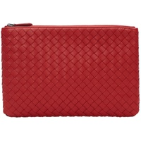 Bottega Veneta Red Small Intrecciato Biletto Pouch