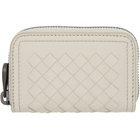 Bottega Veneta Beige Intrecciato Small Zip Coin Pouch