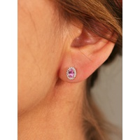 46d02d26f Brown & Newirth 9ct White Gold Pink Sapphire and Diamond Oval Stud Earrings,  0.39ct