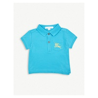 BURBERRY Equestrian Knight-embrodiered cotton-pique polo shirt 6-24months