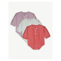 BURBERRY Cotton shortalls set of three 1-6 months