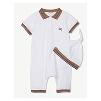BURBERRY Striped trim cotton sleepsuit and hat set 1-12 months