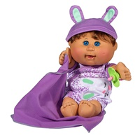 Cabbage Patch Kids 12.5 Naptime Babies - Brunette Hair/Blue Eye Girl (Leopard Jumper Fashion)