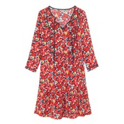 Cathkidston Camoflower Viscose Crepe Bib Detail Dress