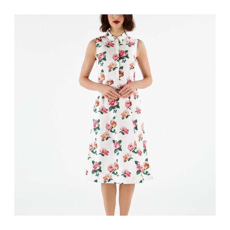 캐스키드슨 Cathkidston Chiswick Rose Tie Waist Shirt Dress