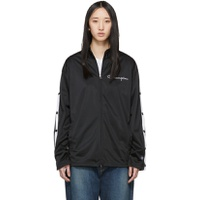 Champion Reverse Weave Black Button Sleeve Zip-Up Jacket