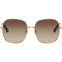 Gold & Blue Metal Square Sunglasses