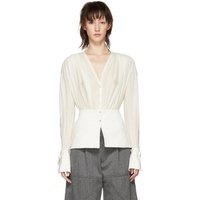 Chloe White Silk V-Neck Blouse