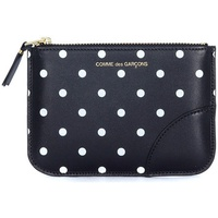 Comme Des Garcons Bustina in pelle nera con pois bianchi Black
