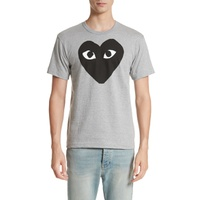 COMME DES GARCONS PLAY Logo Slim Fit Graphic Crewneck T-Shirt