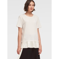 DKNY CREWNECK TOP WITH PLEATED HEM