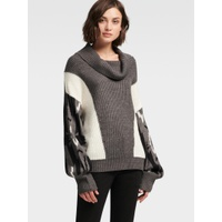 DKNY COLORBLOCK COWL-NECK SWEATER