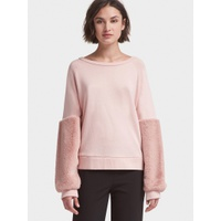 DKNY SWEATSHIRT WITH FAUX-FUR SLEEVES