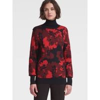 DKNY FLORAL TURTLENECK SWEATER