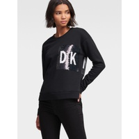 DKNY SEQUINED FRONT-BACK LOGO SWEATSHIRT