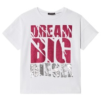 Diesel White Glitter and Sequin Dream Big T-Shirt