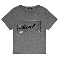Diesel Gray Branded 2 Way Sequin T-Shirt