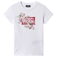 Diesel White Logo and Flower Print T-Shirt